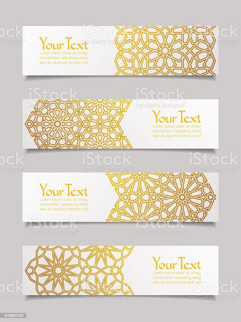 Set of banners with traditional ornament vector art illustration