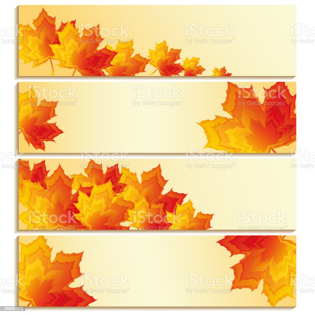 Set of banners with yellow, orange, red maple leaves vector art illustration