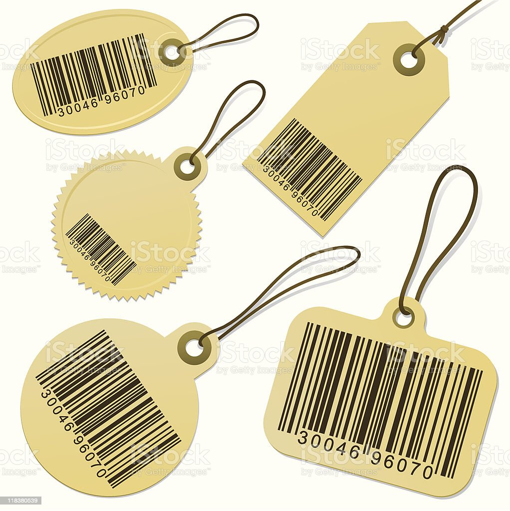 Set of bar code cardboard tags royalty-free stock vector art
