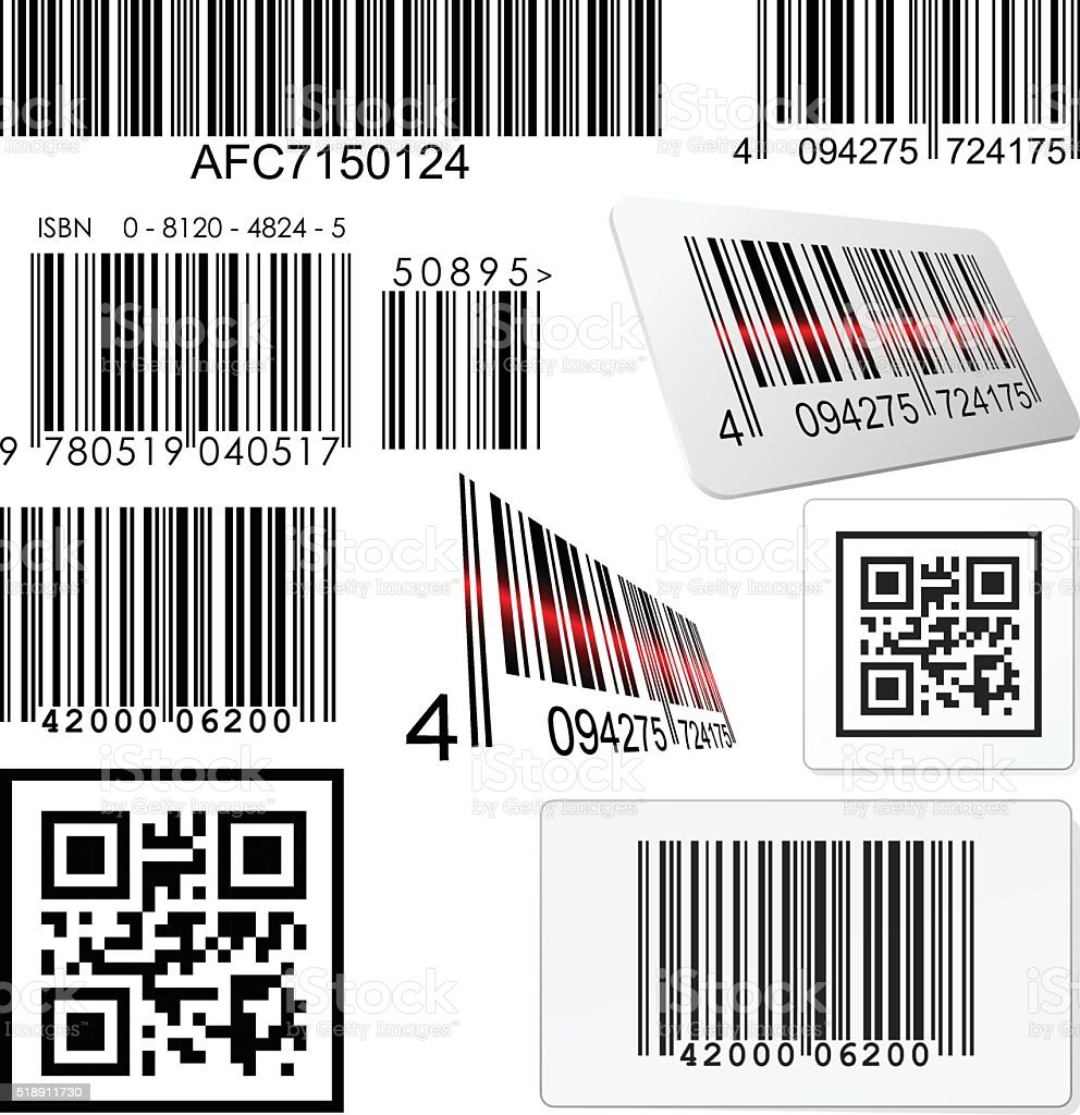 Set of bar codes and qr codes with labels vector art illustration