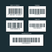 Set of bar codes for different types of goods. Illustration isolated on a dark background.