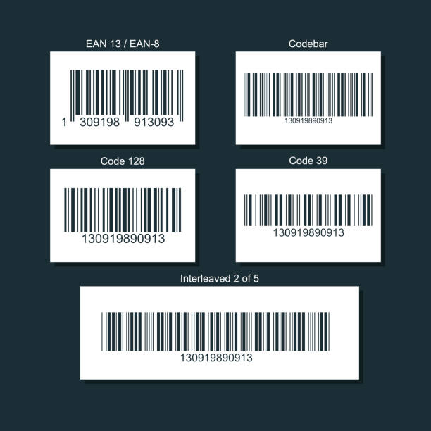 Set of bar codes for different types of goods. Illustration isolated on a dark background. vector art illustration