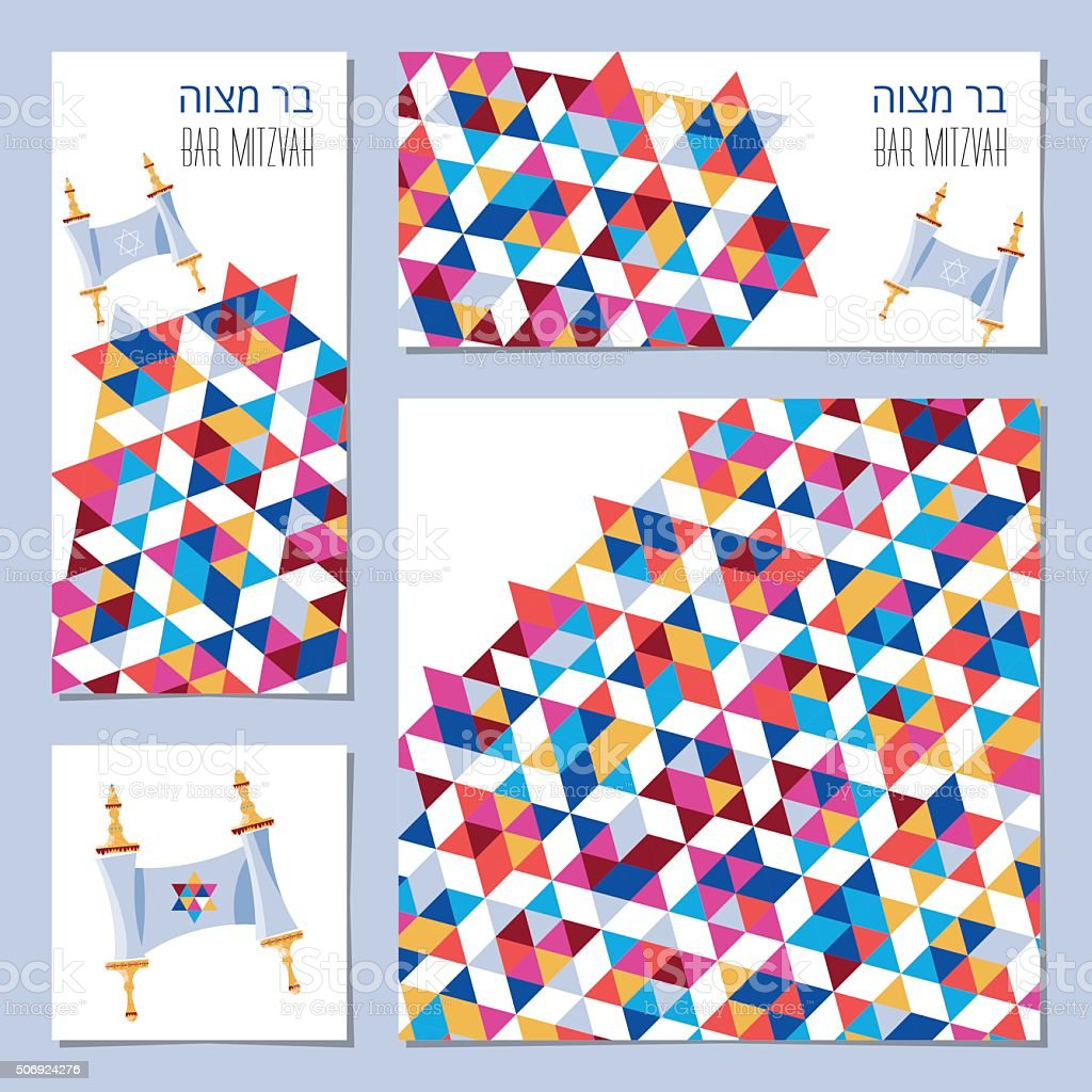Set of Bar Mitzvah invitation cards with torah scroll vector art illustration