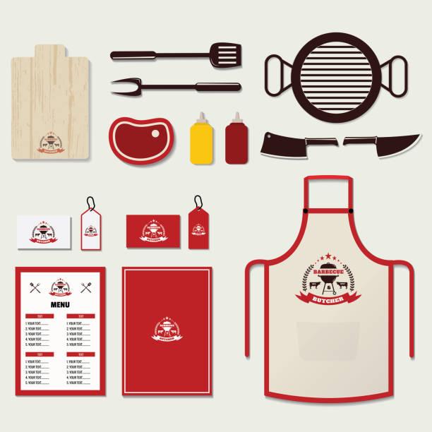 Set of Barbecue Elements and Corporate Brand identity - illustrazione arte vettoriale