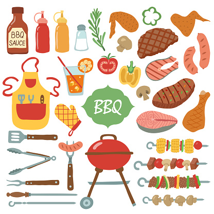 A set of barbecue items.