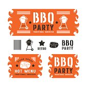 Set of barbecue labels and banners