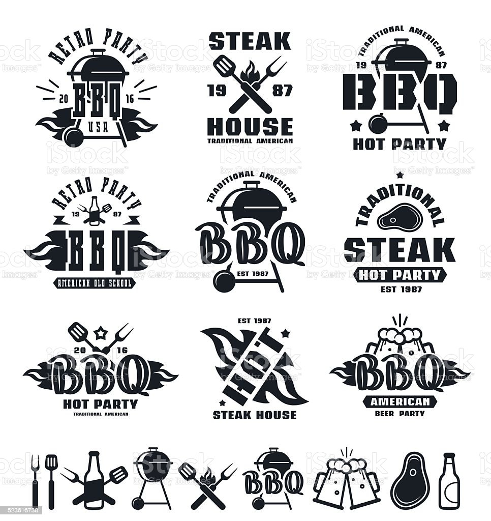 Set of barbecue labels, badges, and design elements vector art illustration