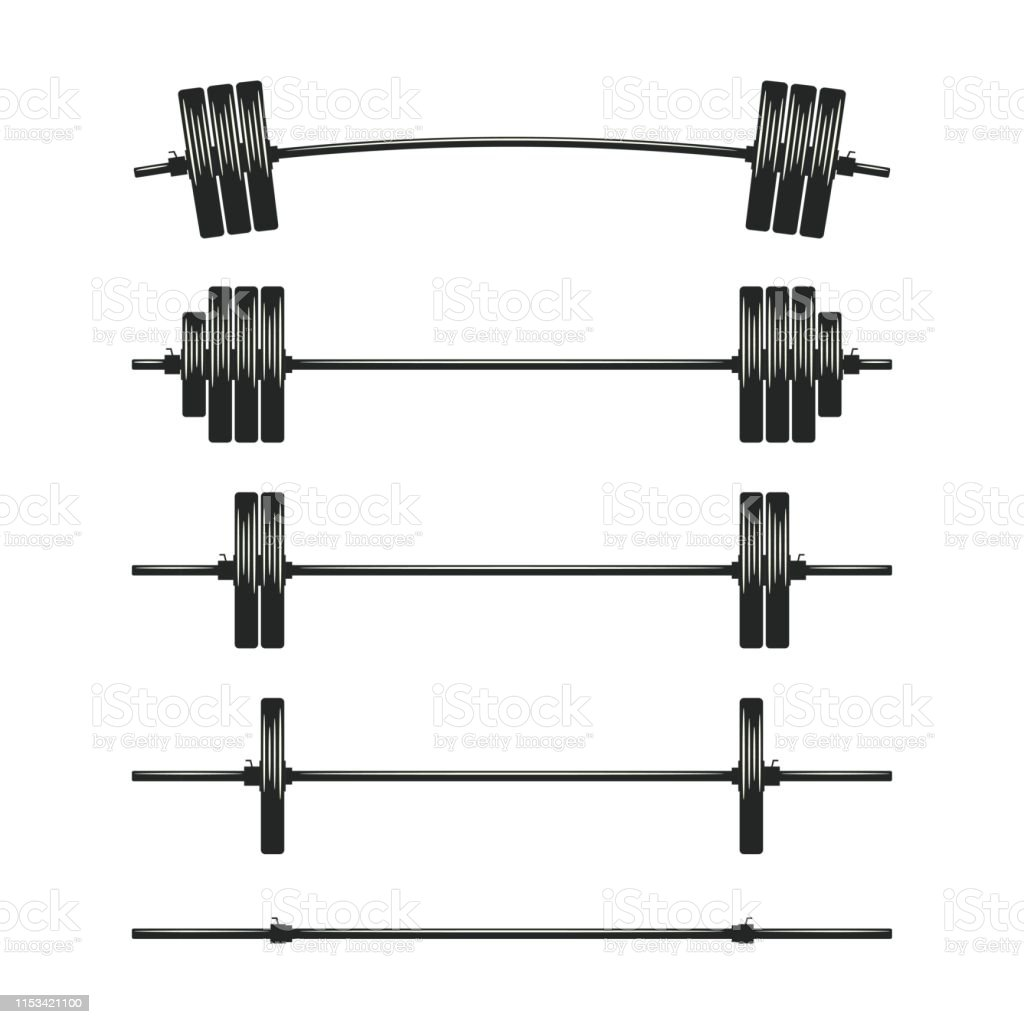 Set Of Barbells Bodybuilding Gym Crossfit Workout Fitness Club ...