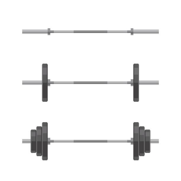 Set of barbells vector art illustration