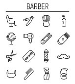 Set of barber in modern thin line style.