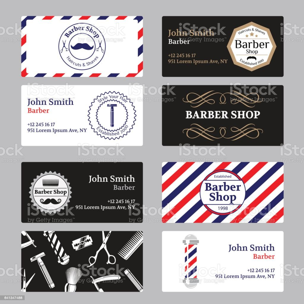 Set Of Barber Shop Business Card On Black And White Background Stock ...