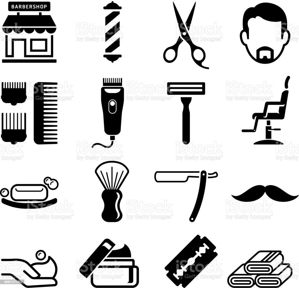 Set von Barber Shop Icons. Vektor-Illustrationen. – Vektorgrafik