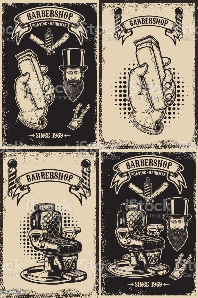 Conjunto de modelos de cartaz de loja de barbeiro. Elemento de design para o rótulo, emblema, sinal, cartaz. - ilustração de arte em vetor