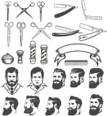 Set of  barber tools. Man's heads. Design elements for label, emblem, sign, poster, badge. Vector illustration