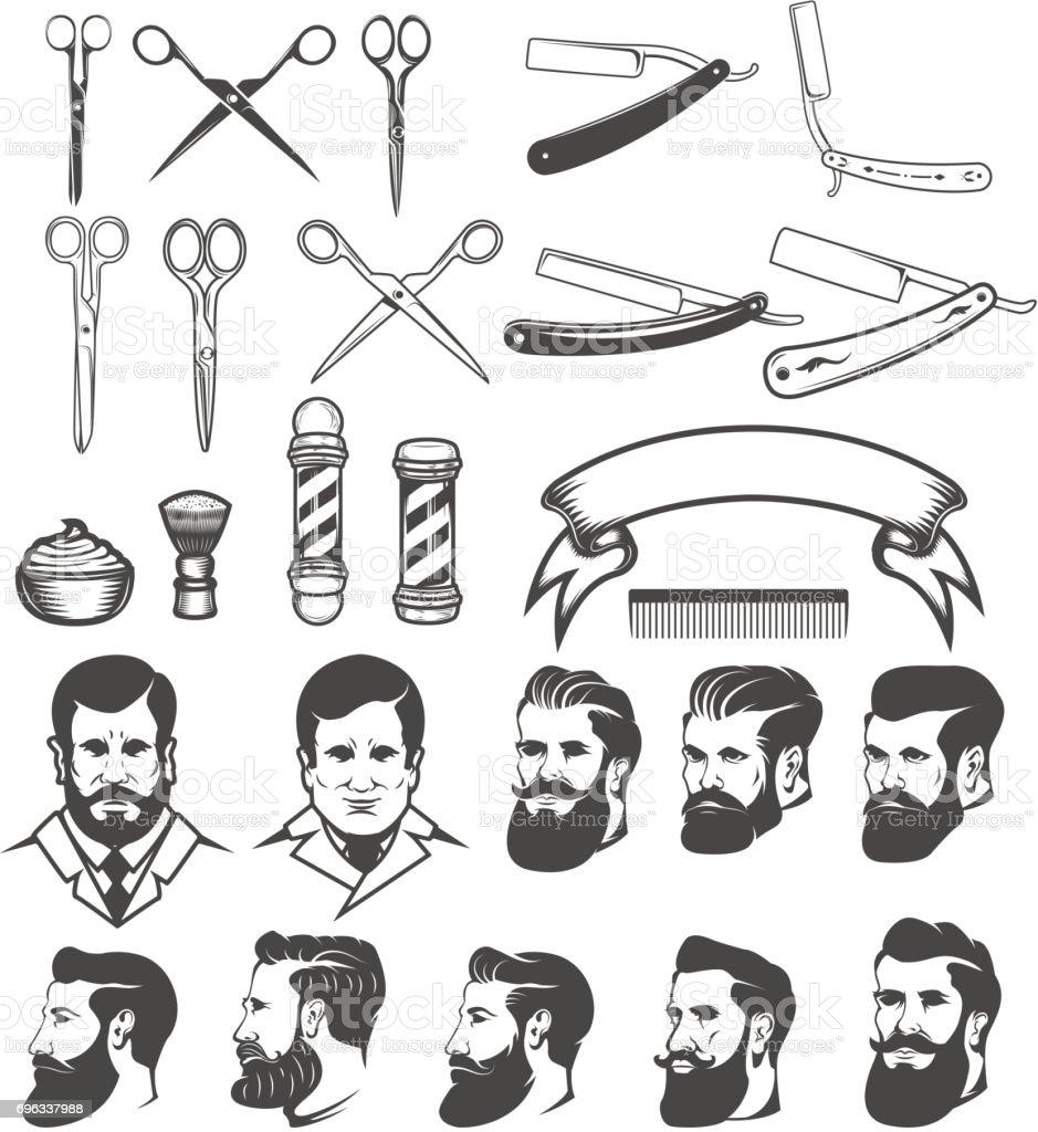 Set of  barber tools. Man's heads. Design elements for label, emblem, sign, poster, badge. Vector illustration vector art illustration