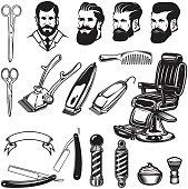 Set of barbershop design elements. scissors, shaving blades, barber chair, clipper. Design elements for label, emblem, sign. Vector illustration