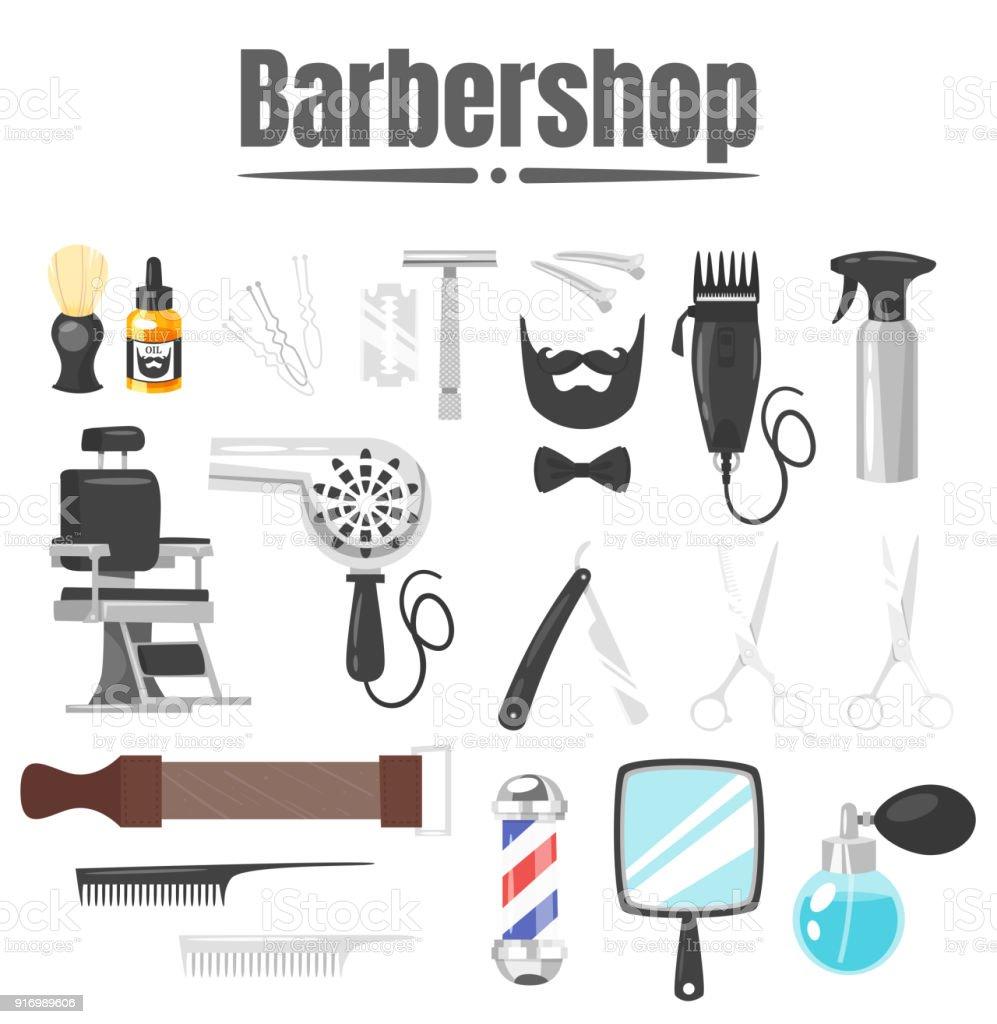 conjunto de ferramentas de barbearia - ilustração de arte em vetor