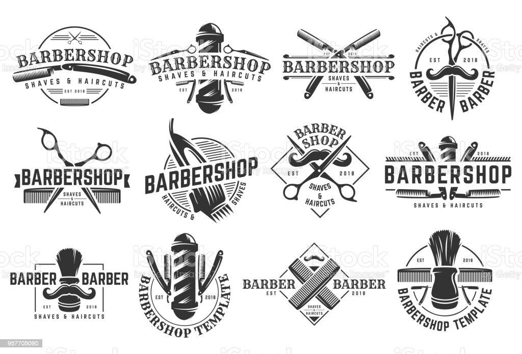 Un conjunto de plantilla vintage Barbershop sobre fondo blanco aislada - ilustración de arte vectorial