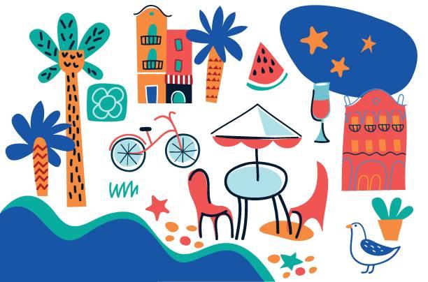 bildbanksillustrationer, clip art samt tecknat material och ikoner med uppsättning av barcelona färg doodle handritade vektor ikoner - vin sommar fest
