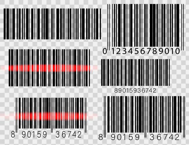 set of barcodes isolated on white background - kod kreskowy stock illustrations