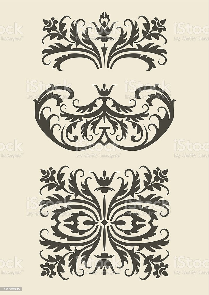Set of baroque vector  ornaments for design royalty-free stock vector art
