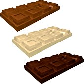 Set of Bars of Chocolate in Perspective. Milk, White and Dark Chocolate Isolated on White Background. Vector 3d Realistic Illustration.