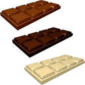 Set of Bars of Chocolate in Perspective. Milk White and Dark Chocolate Isolated on White Background. Vector 3d Realistic Illustration.