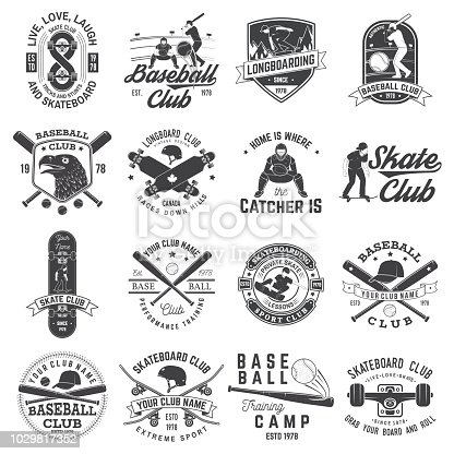 Set of baseball and skateboard club badge. Vector illustration. Concept for shirt or , print, stamp or tee. Design with baseball bats, catcher, eagle, ball, skateboarder and skateboard silhouette.