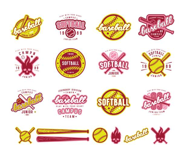 set of baseball and softball badges - softball stock illustrations, clip art, cartoons, & icons