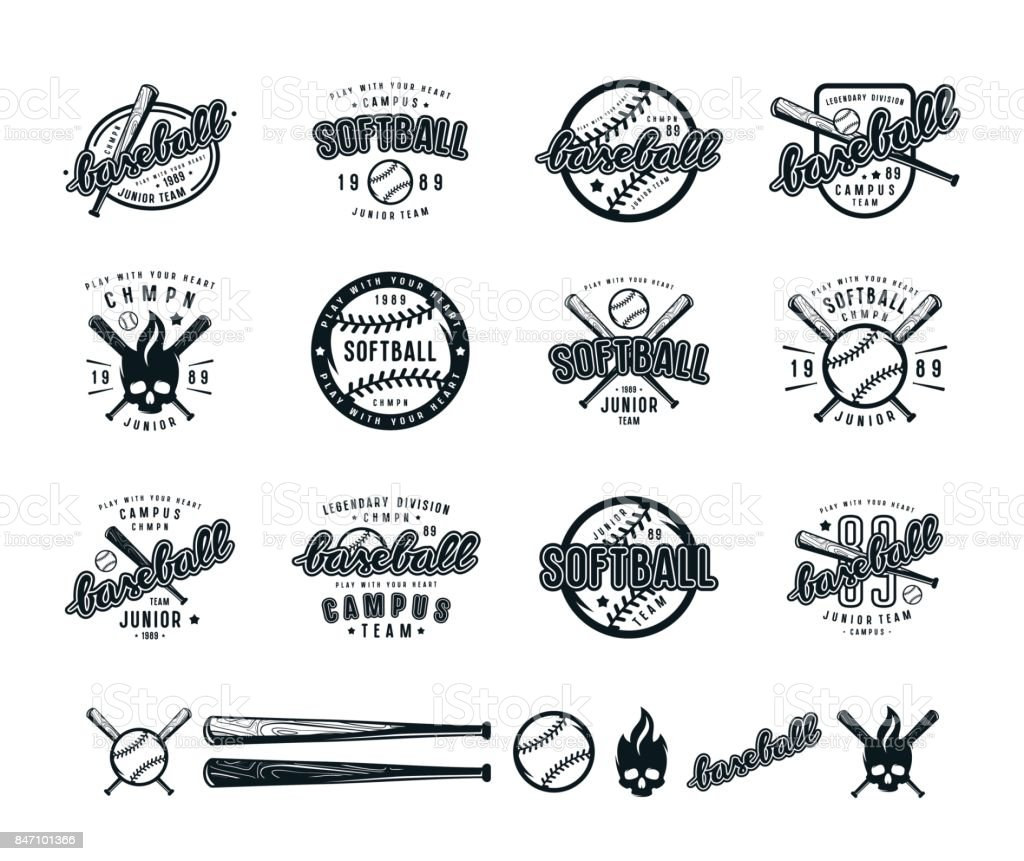 Set of baseball and softball badges royalty-free set of baseball and softball badges stock illustration - download image now