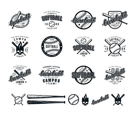 Set of baseball and softball badges