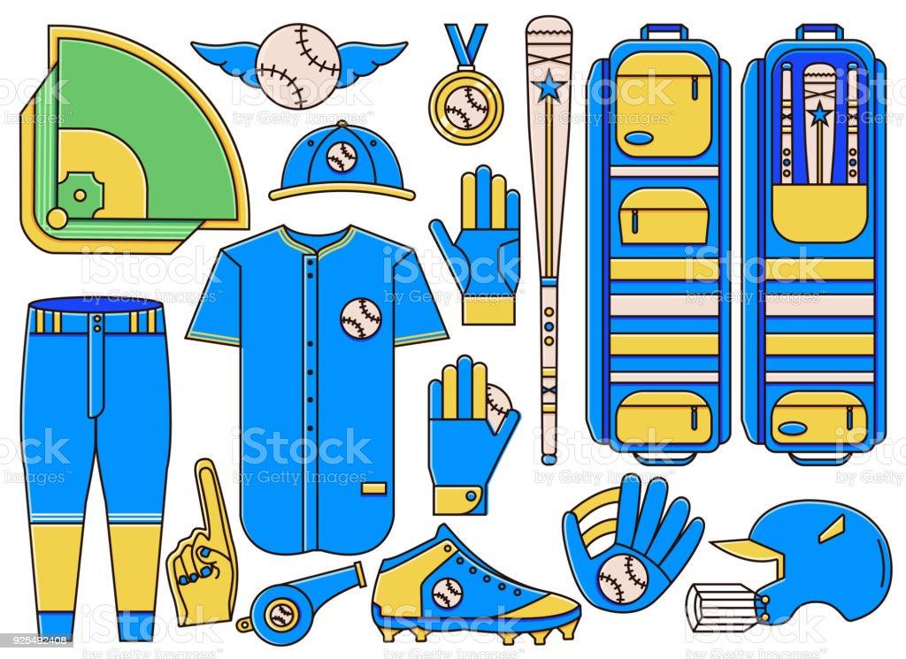 Set of baseball and softball equipment, gear, apparel and uniform...
