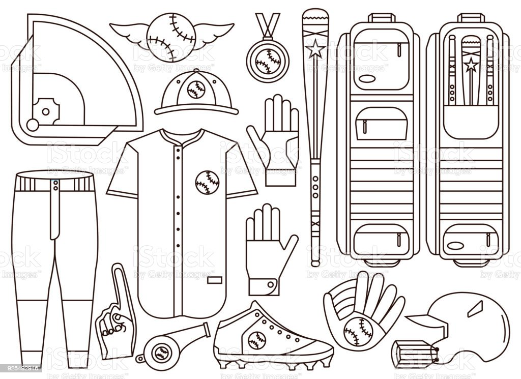 Set of baseball and softball equipment, gear, apparel and uniform elements including diamond field, ball, bat, bag and clothing. Collection of base ball elements in outline design. vector art illustration