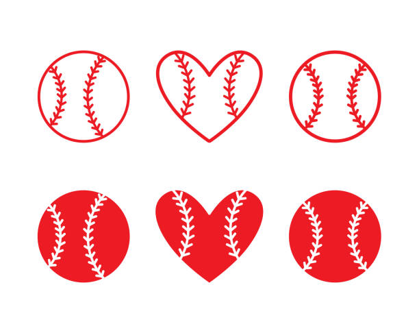 set of baseball balls. outline design. vector illustration. - softball stock illustrations, clip art, cartoons, & icons