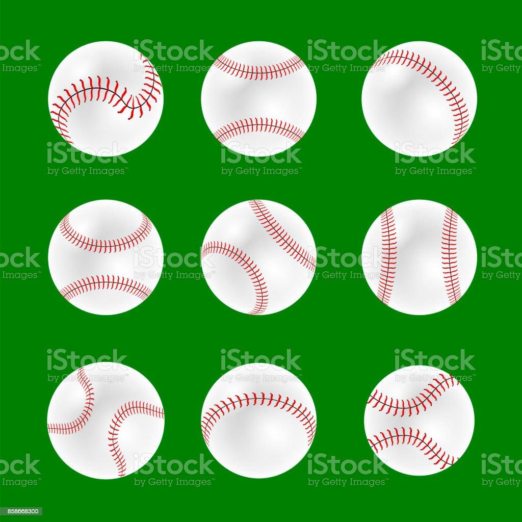Set of Baseball Balls vector art illustration