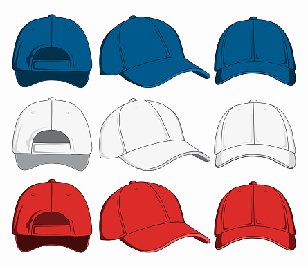 Set of baseball caps, front, back and side view. Vector illustration
