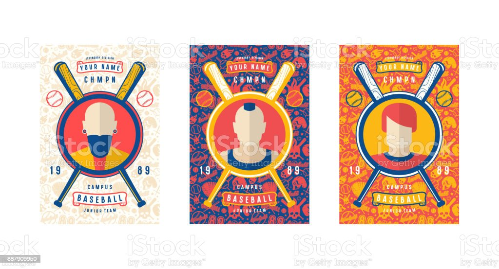 Set of baseball card design vector art illustration