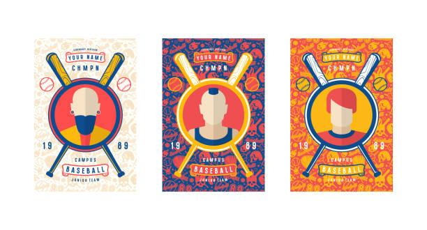 Set of baseball card design vector art illustration