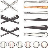 Set of baseball club emblem design elements