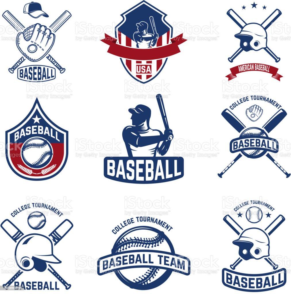 Set of baseball emblems. Baseball tournament. vector art illustration