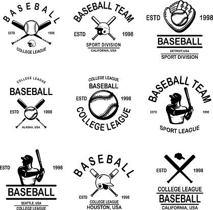 Set of baseball emblems. Design element for label, sign, poster, t shirt.