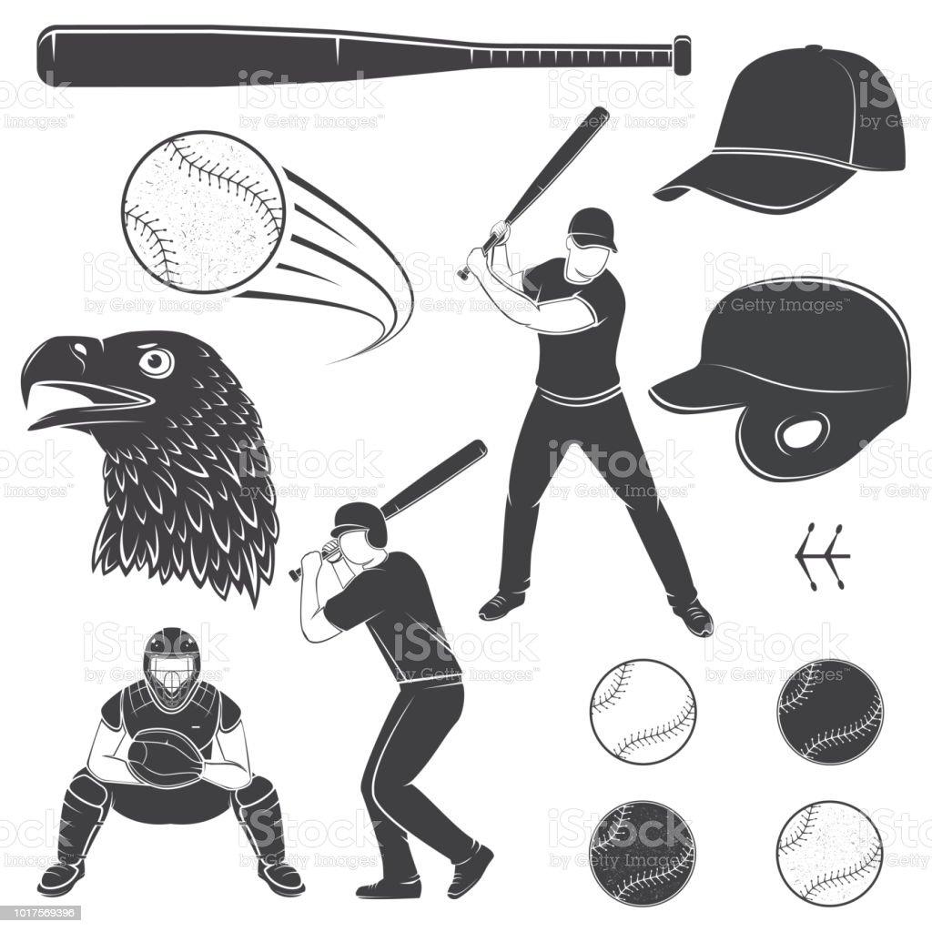 Set of baseball equipment and gear. Vector illustration vector art illustration