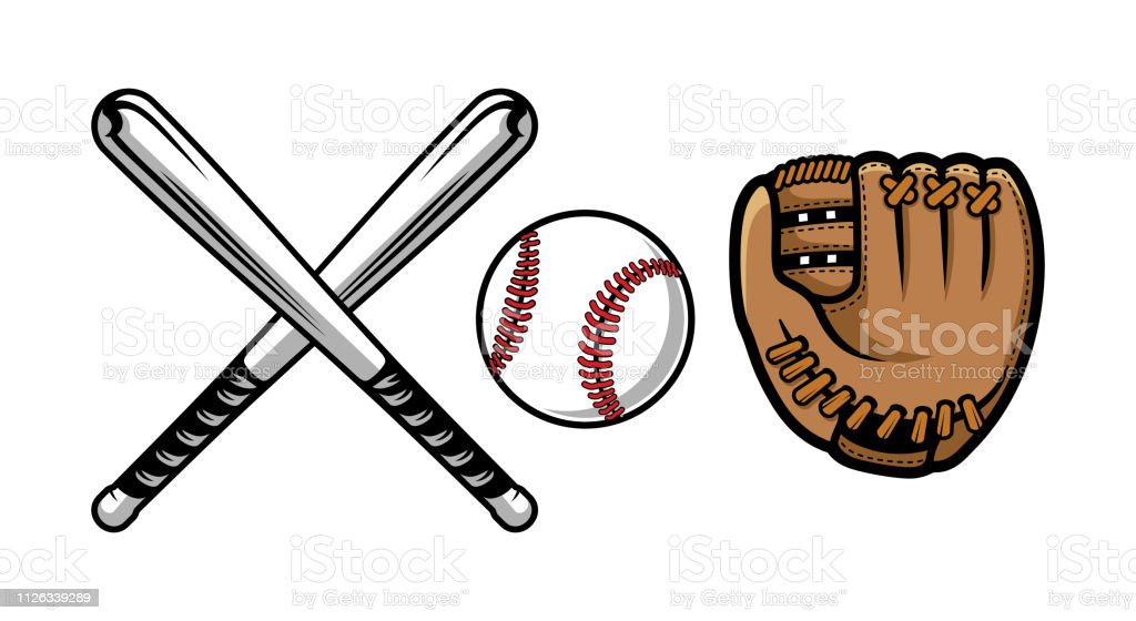 Set of baseball equipment illustrations contains bat, gloves and ball. royalty-free set of baseball equipment illustrations contains bat gloves and ball stock illustration - download image now