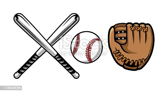 Collection of baseball equipment illustrations contains bat, gloves and ball vector