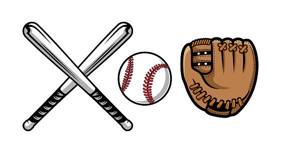 Download Set Of Baseball Equipment Illustrations Contains Bat ...