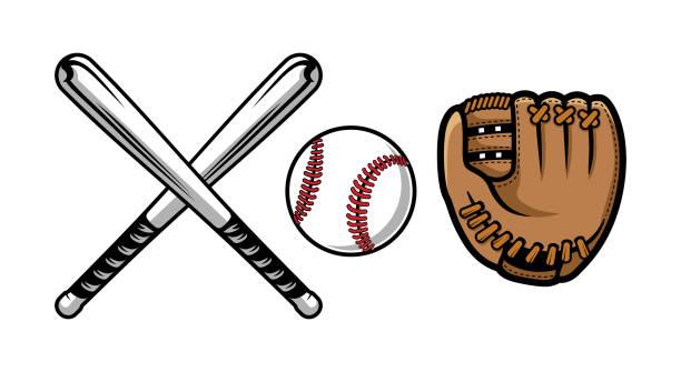 ilustraciones, imágenes clip art, dibujos animados e iconos de stock de conjunto de ilustraciones de equipos de béisbol contiene bate, guantes y pelota. - béisbol