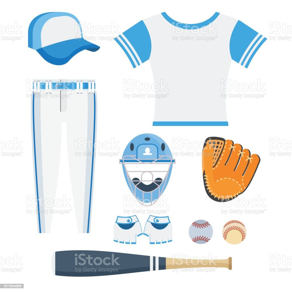 set of baseball equipment vector art illustration
