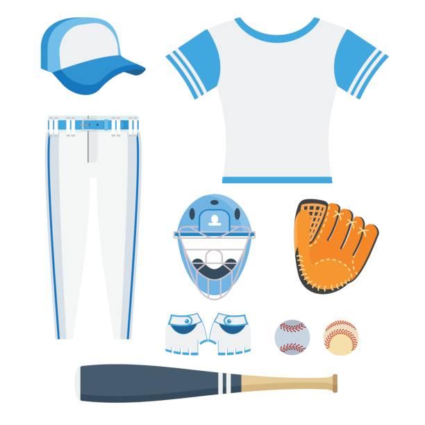 set of baseball equipment vector art illustration