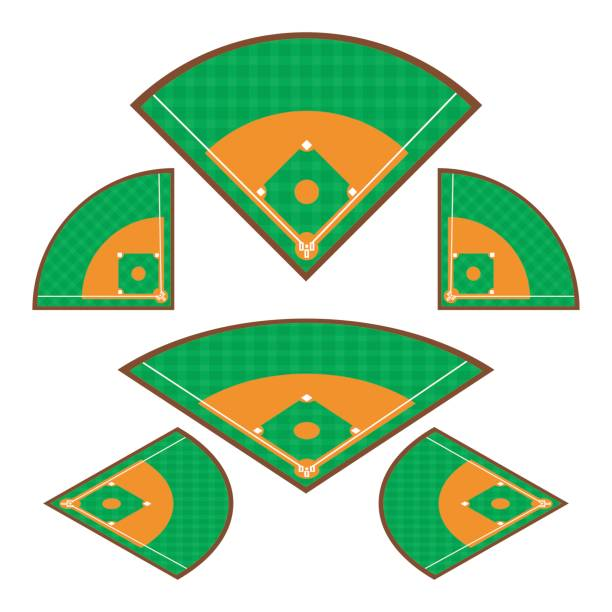 Set of Baseball Fields with any angle on white background. Vector illustration Baseball Fields concept design. vector art illustration