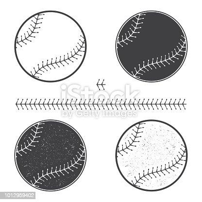 Set of baseball icon and seam. Vector illustration. Baseball seam brushes. Ball for baseball silhouette.